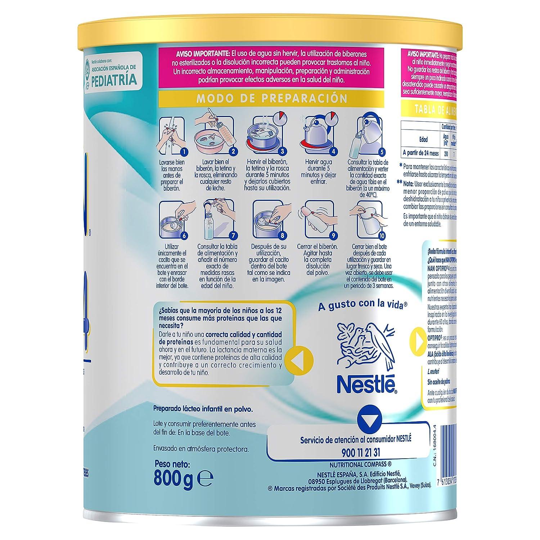 NAN OPTIPRO 4 - Preparado lácteo infantil - Fórmula de crecimiento en polvo - A partir de los 24 meses - 800g: Amazon.es: Alimentación y bebidas