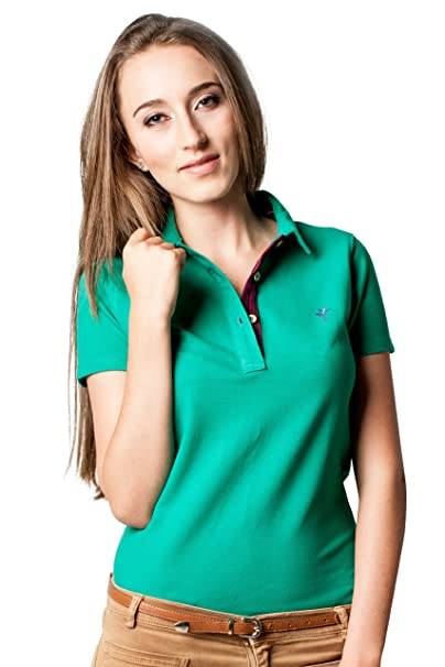 B FROG - Polo - para mujer Emerald mit lila Kragen small