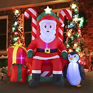 Joiedomi Christmas Inflatable Decoration 6 FT Santa Claus on Candy Throne Inflatable with Build-in LEDs Blow Up Inflatables for Xmas Party Indoor, Outdoor, Yard, Garden, Lawn Winter Decor.