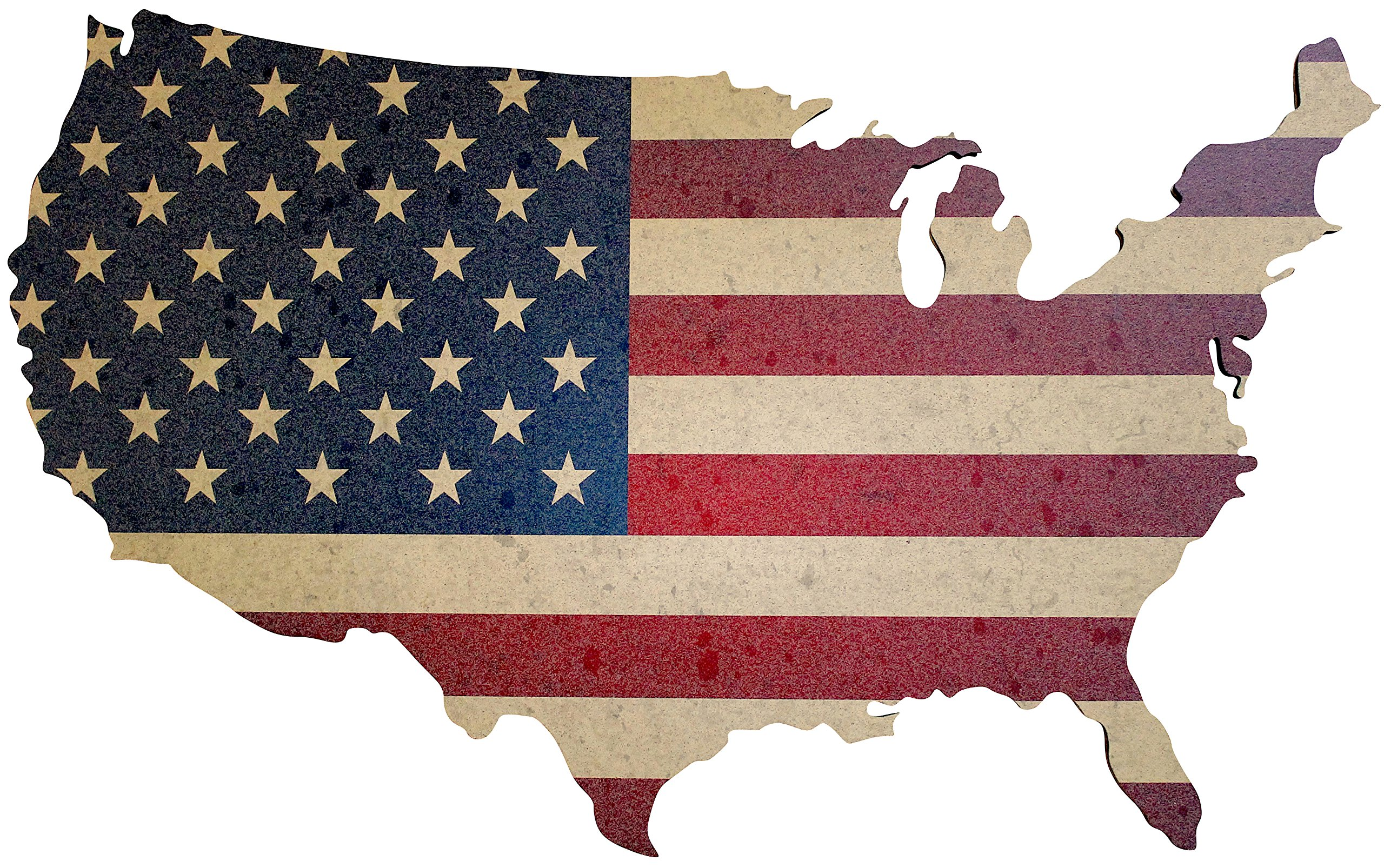 Cork Bulletin Board - US Map with Vintage American Flag Print - Large Decorative 36x22 Inch Wall Art - Pin Board Message Organizer for Home or Office