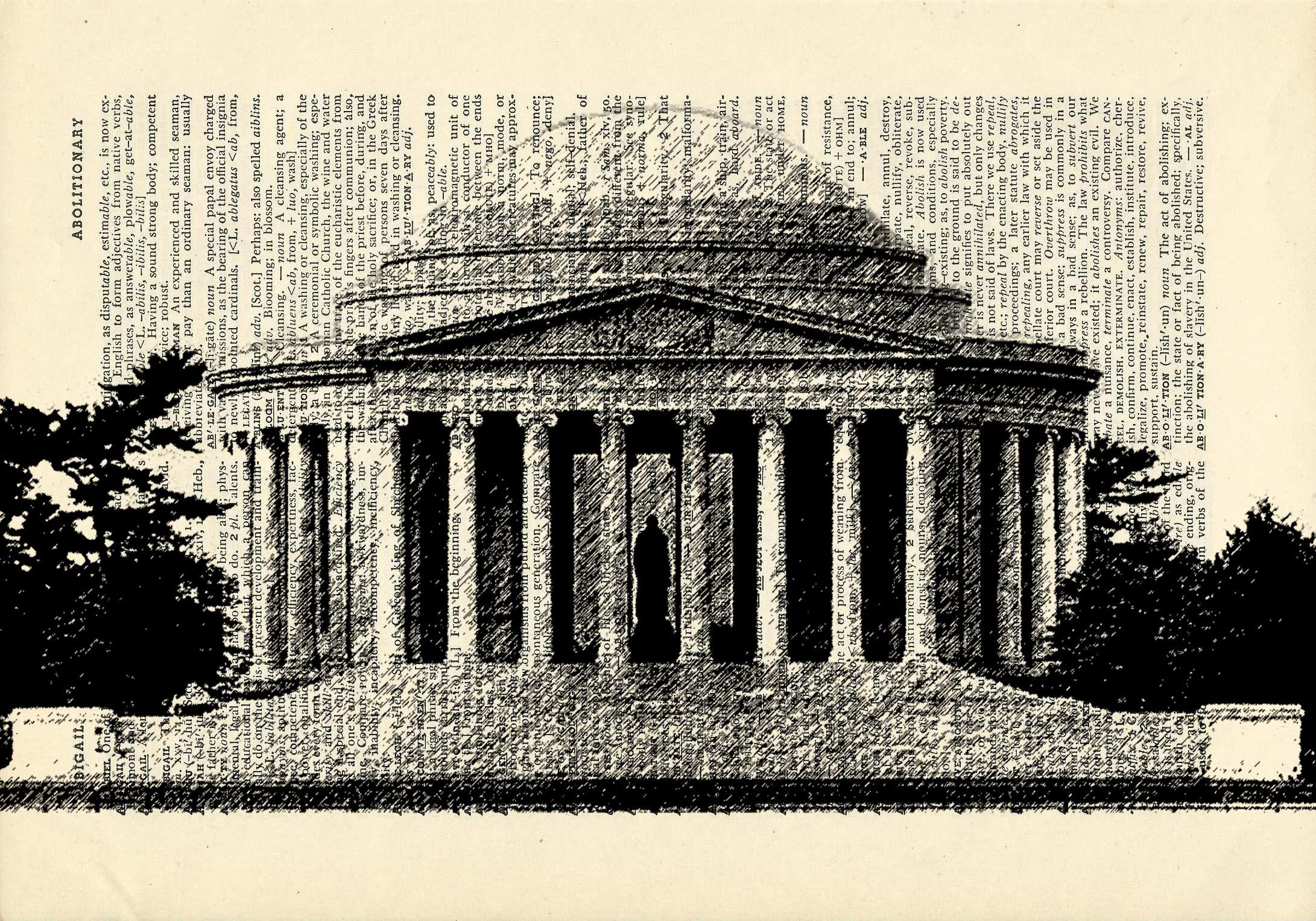 Jefferson Memorial Washington DC Printed on Dictionary Paper