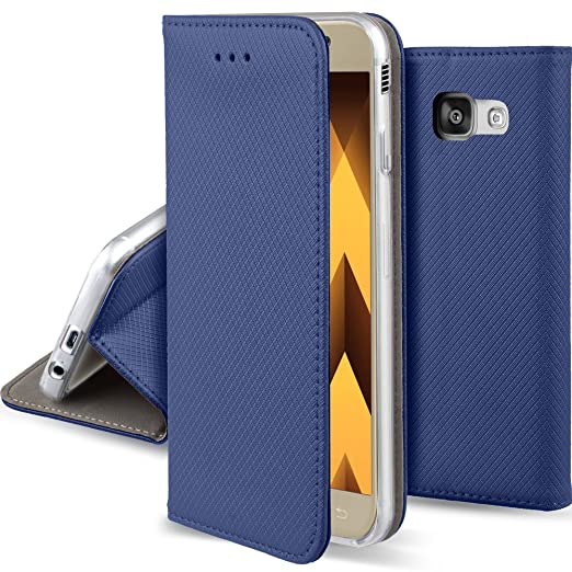 50 opinioni per Cover Samsung Galaxy A5 2017 Blu scuro- Custodia a libro Flip Smart magnetica de