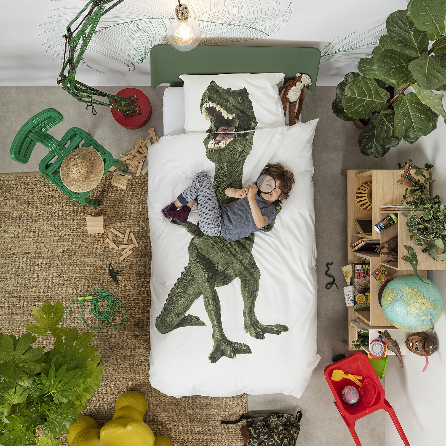 Dinosaur Duvet Cover and Pillow Case Set for Kids by SNURK – Full / Queen