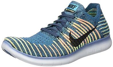 Nike Men's Free RN Flyknit, SQUADRON BLUE/BLACK, ...
