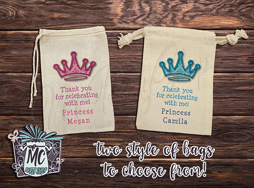 Set of 4 Custom Gift Bags Princess Birthday Mini Tote Personalized Party Favor Bags Reusable Tote Bags with Gold Crown