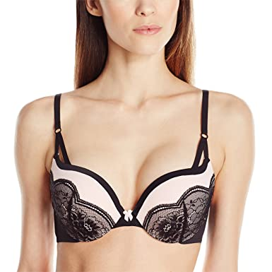 5f9326ffc5f6 Maidenform Women's Love the Lift Push-Up Bra, Black/Gentle Peach Strappy  Lace