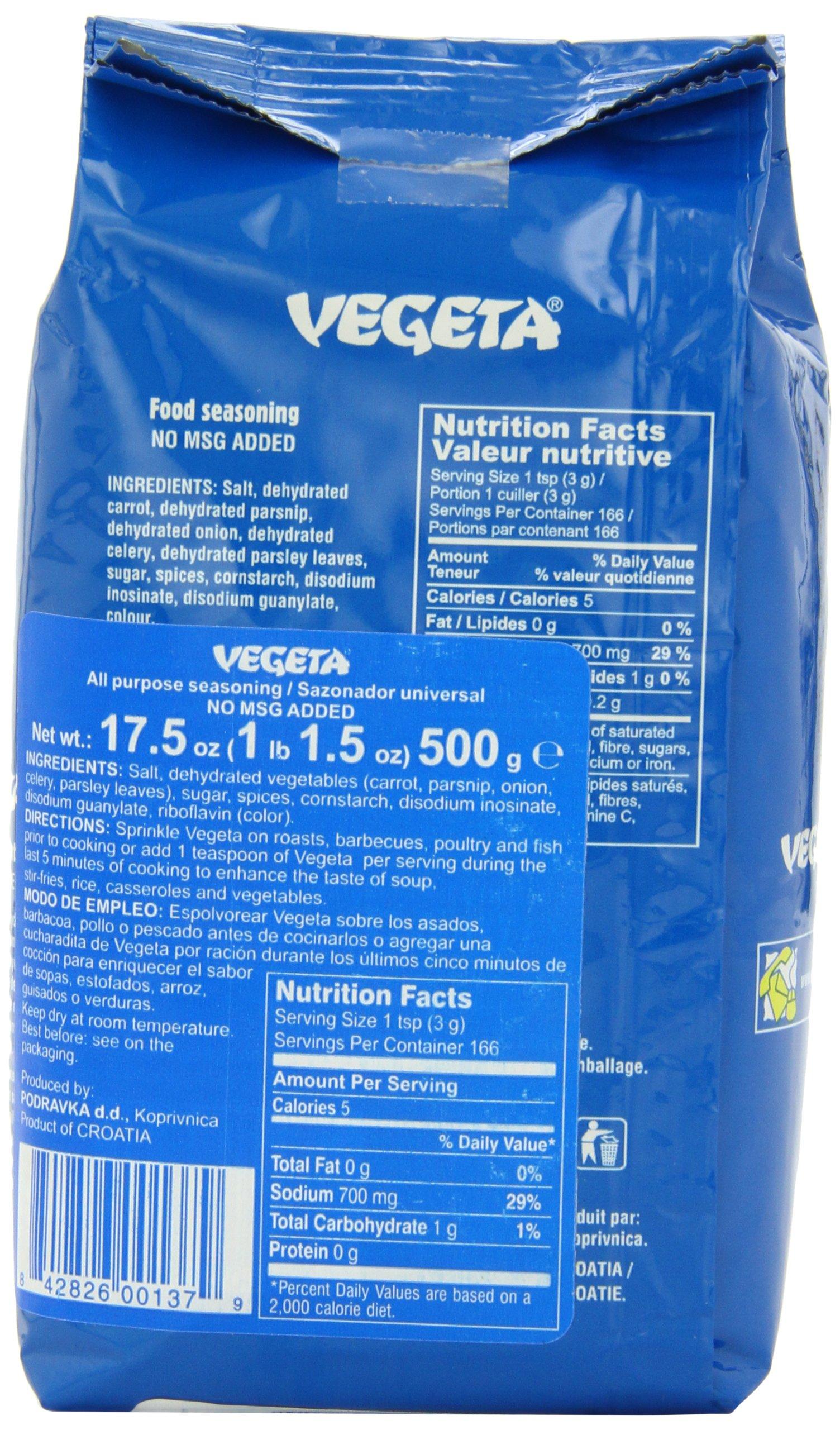 Vegeta, Gourmet Seasoning, No MSG, 17.5oz 500g bag