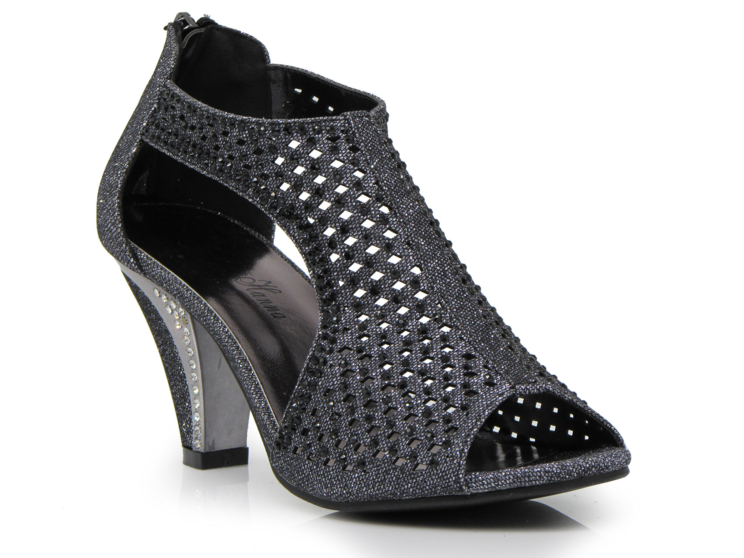 Enzo Romeo kinmi30 Womens Open Toe Mid Heel Wedding Rhinestone Gladiator Open Toe Mesh Sandal Wedge Shoes (11, Black)