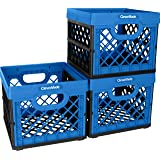 CleverMade Utility Totes, 25 Liters Stackable Storage Bins/Containers/Collapsible Milk Crate Pack of 3 Blue