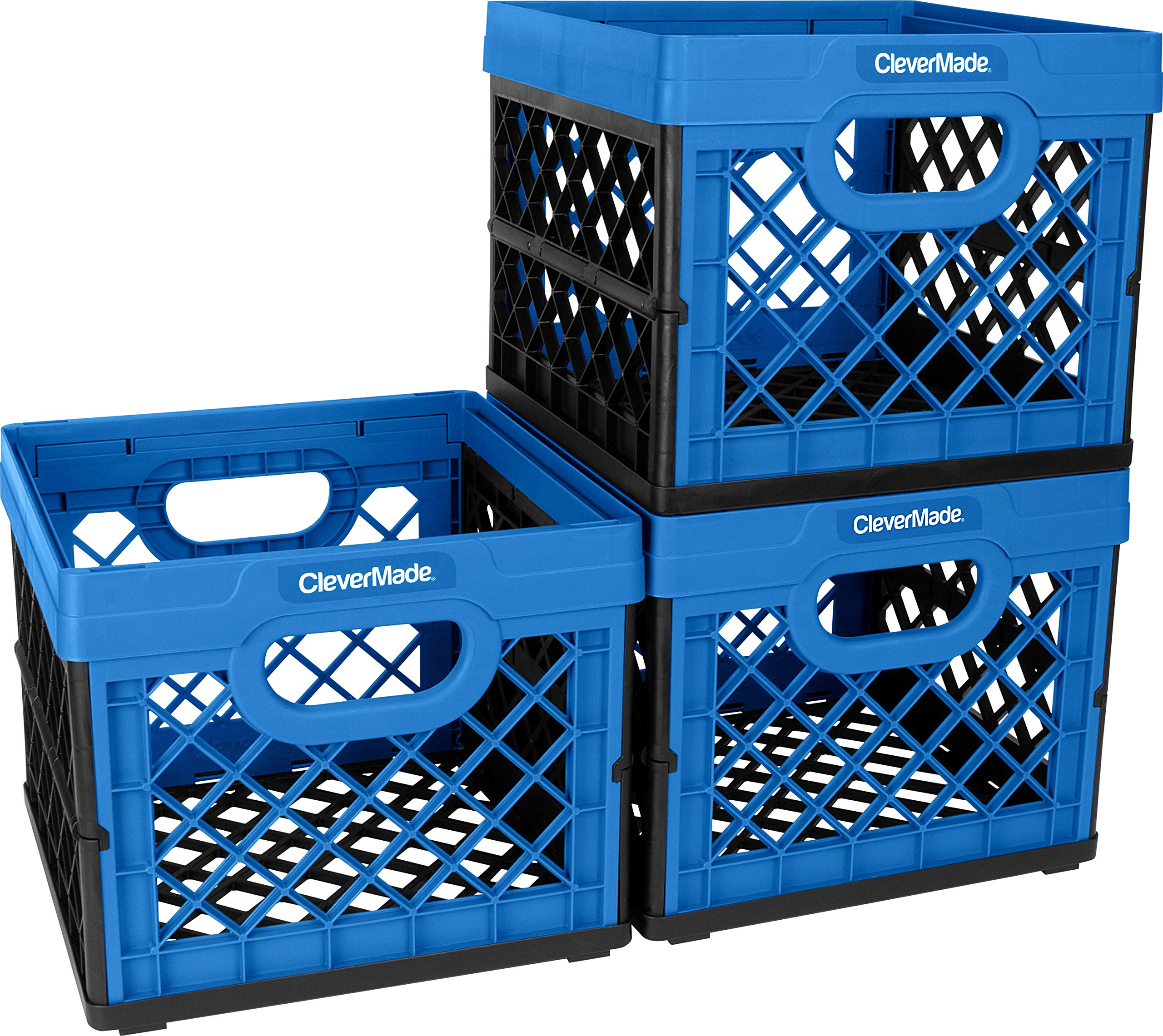 CleverMade Collapsible Milk Crates, 25L Plastic Stackable Storage Bins CleverCrates Utility Folding Baskets, Pack of 3, Blue by CleverMade