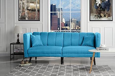 Superb Sofamania Mid Century Modern Plush Tufted Linen Fabric Living Room Sleeper Futon Sky Blue Cjindustries Chair Design For Home Cjindustriesco