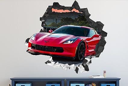 Amazon Com Corvette 3d Wall Decal Smashed Sticker Vinyl Decor Sport