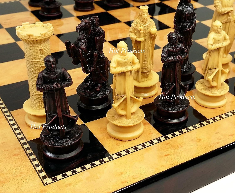 100%品質 Medieval Times Times Set King Richard the Lionheart Knights Dark Antique Color Chess Men Set W/ 15