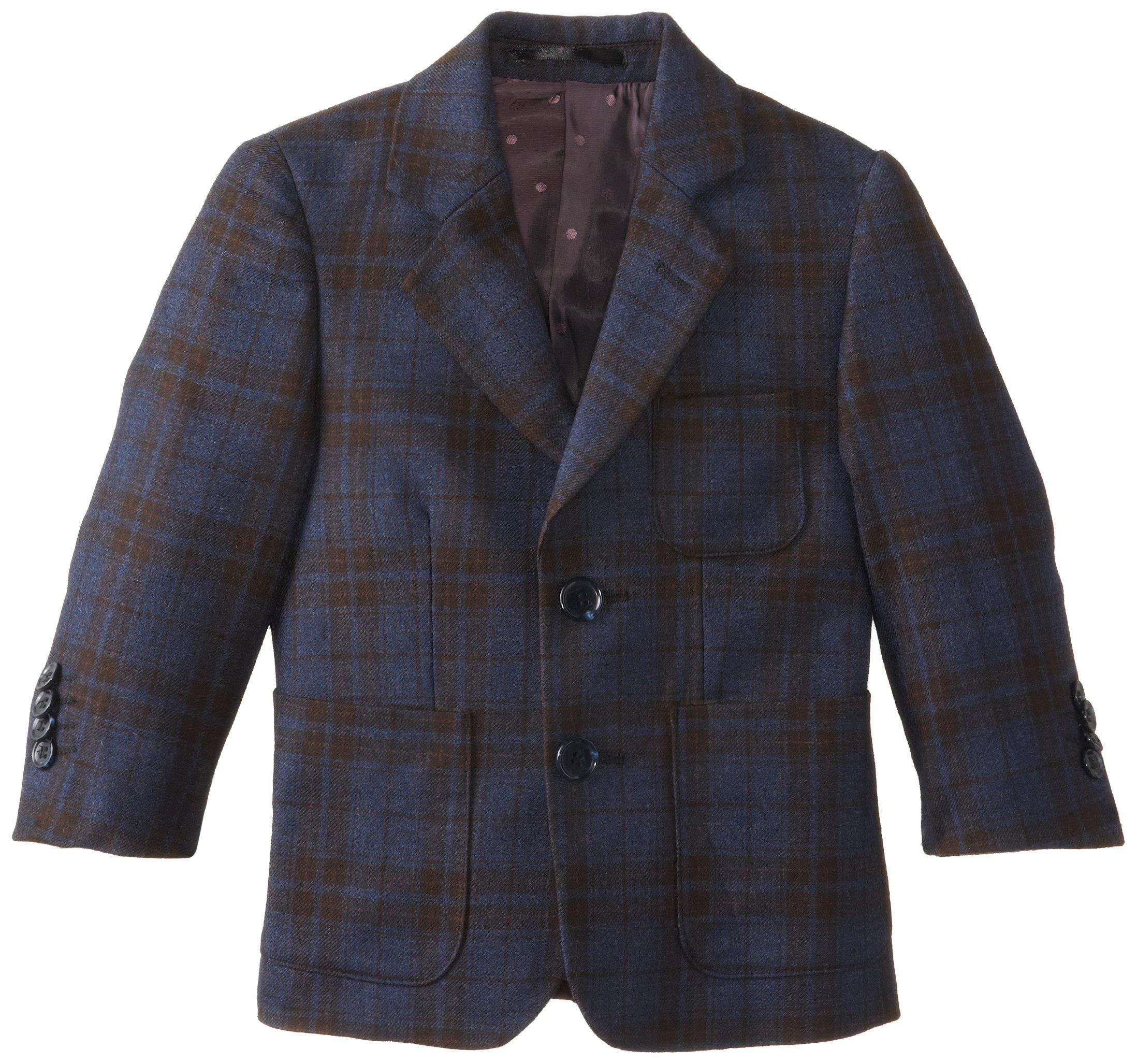 Isaac Mizrahi Black Label Little Boys' Little Pure Wool Large Plaid Blazer, Blue, 5