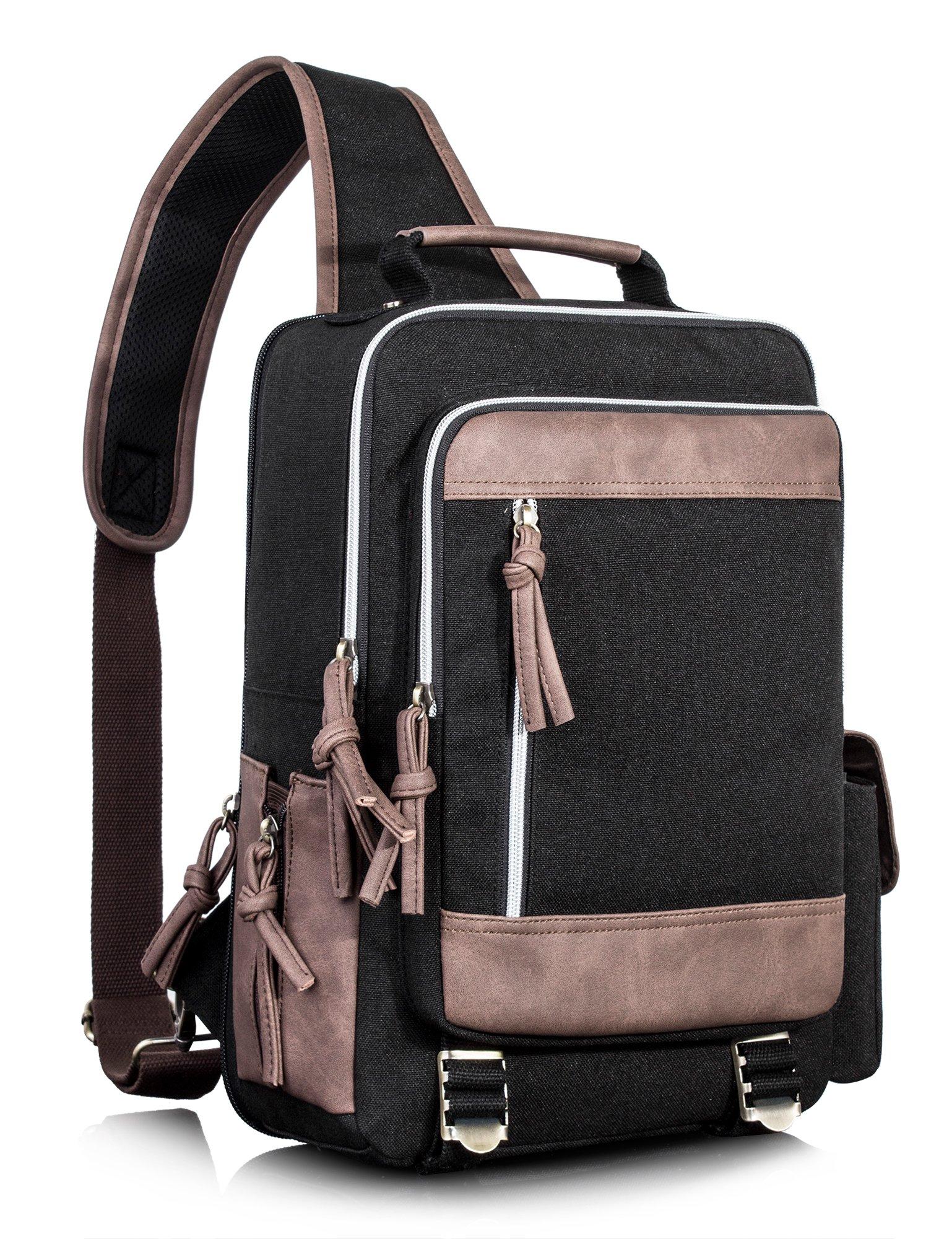 Leaper Retro Messenger Bag Outdoor Cross Body Sling Bag Travel Bag Shoulder Backpack (Black3103)