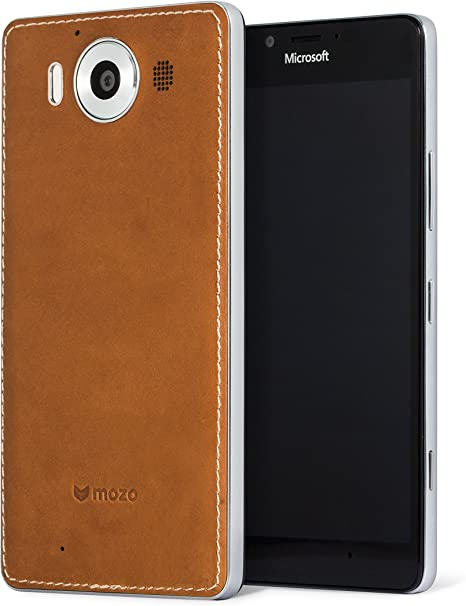 Mozo Microsoft Lumia 950 Qi Wireless Charging Back Cover Case with NFC CognacSilver