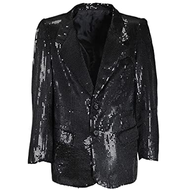 Mens Black Sequin Jacket Costume Extra Large UK 46