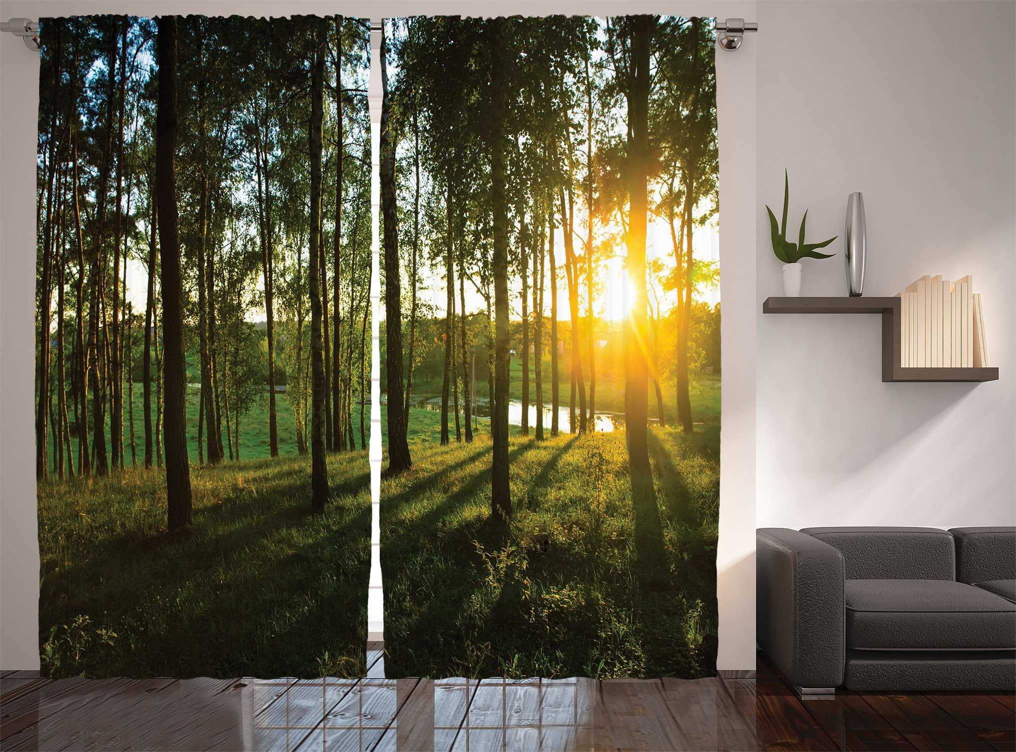 Ambesonne Farm House Decor Collection, Scene of Sunset in the Scattered Woods at Autumn and River Comes into View Print, Living Room Bedroom Curtain 2 Panels Set, 108 X 84 Inches, Olive Green Yellow