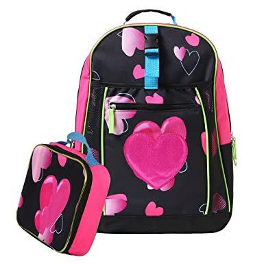 Amazon.com | 17.5 inch Glitter Heart Kids School Bag / Black ...