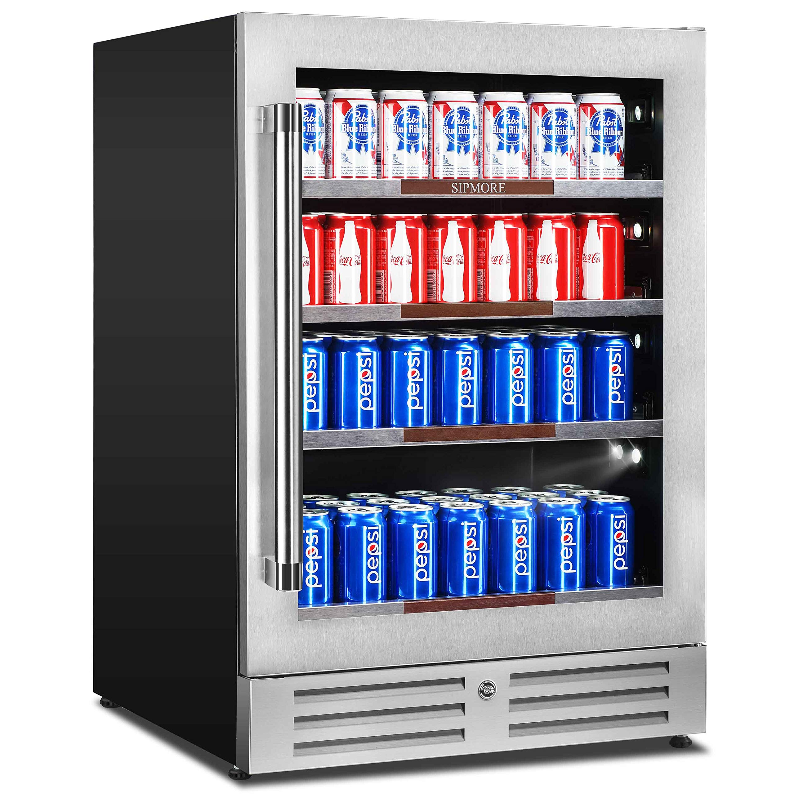 Sipmore Beverage Refrigerator and Cooler Glass Shelf 154 Can Built-in Fridge with Glass Door for Soda Beer, Powerful Drink Machine for Home Office or Bar with Stage Led Light and Smart Control System