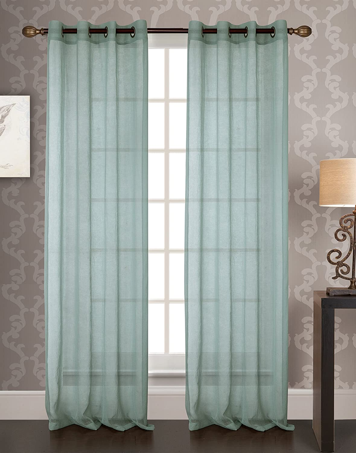 RT Designers Collection PNF07397 Fino Sheer 53x90 Grommet Curtain Panel, White Ramallah Trading Company Inc.