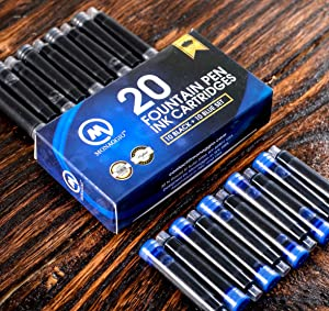 Black & Blue Ink Cartridges for Fountain Pens. Big Pack of 20 Short International Standard Size Cartridges. Perfect for Calligraphy Pen. Universal Fine Design with Incredible Long Lasting Color
