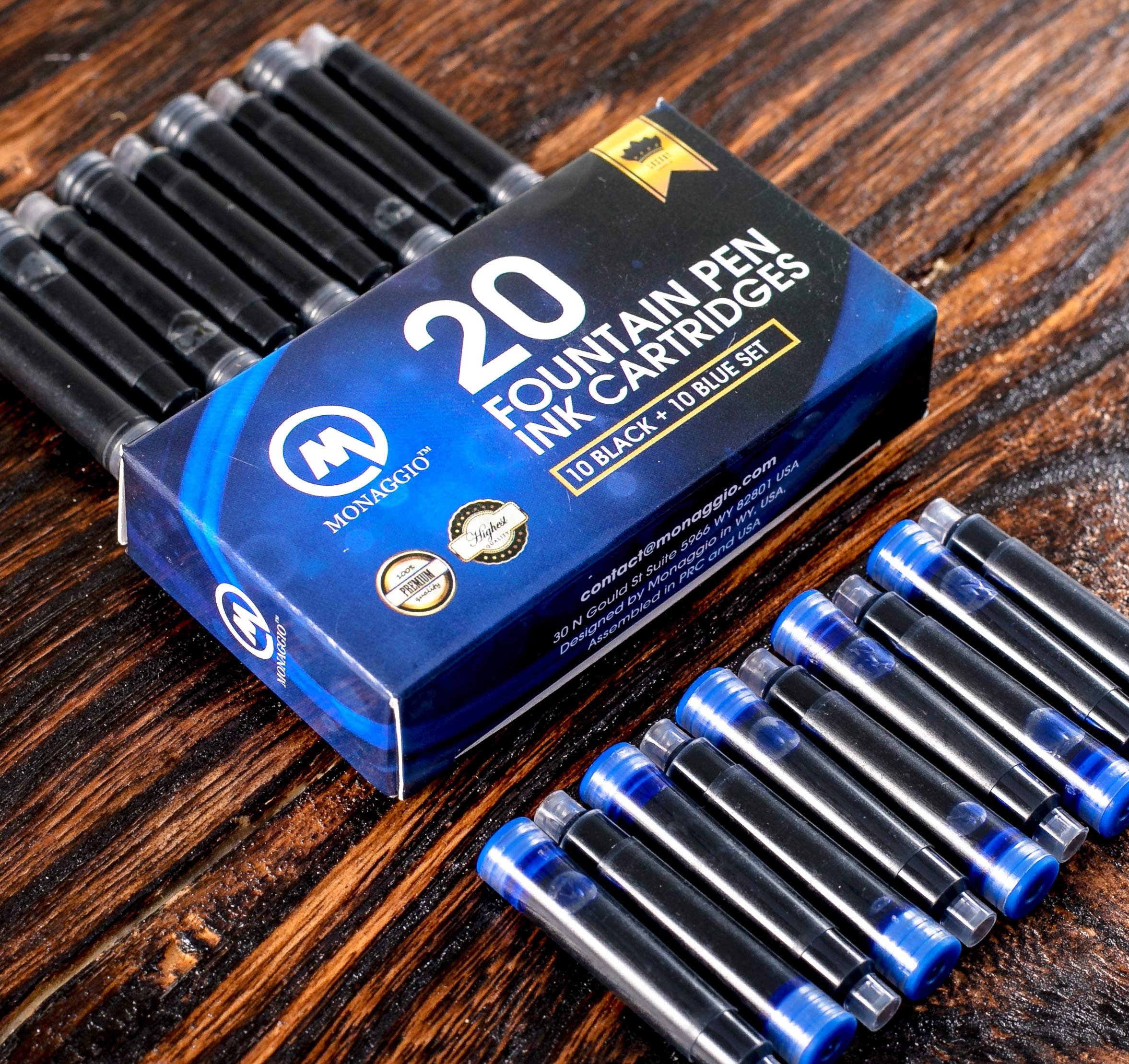 Vivid Black & Blue Ink Cartridges for Fountain Pens. Amazing Big Pack of 20 International, Standard Size Cartridges. Perfect for Calligraphy Pen. Universal, Fine Design with Long Lasting Shade!