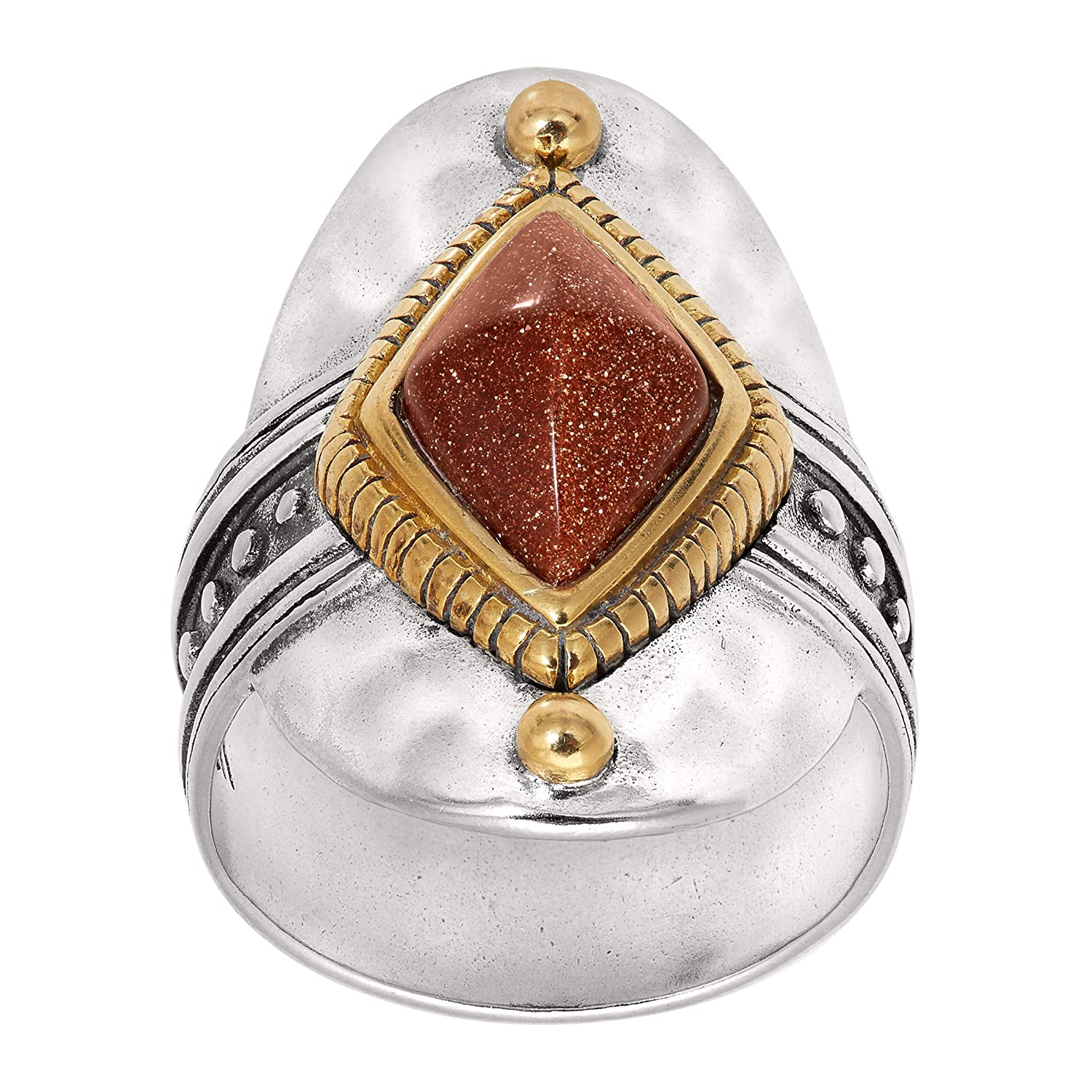 Silpada 'Warm Hues' Created Goldstone Wide Face Ring in Sterling Silver & Brass Richline Group R3483P