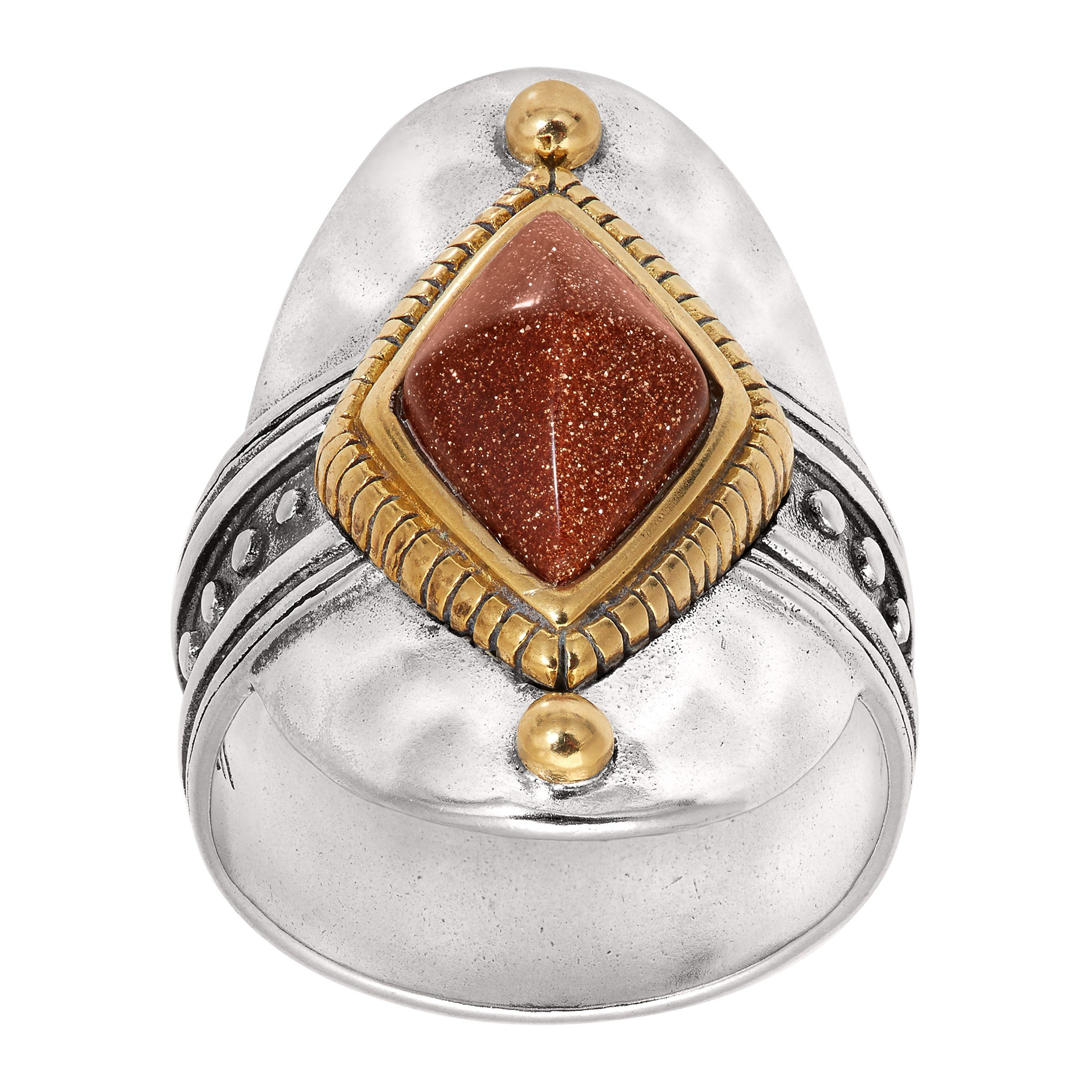 Silpada 'Warm Hues' Brass, Goldstone, and Sterling Silver Ring, Size 11