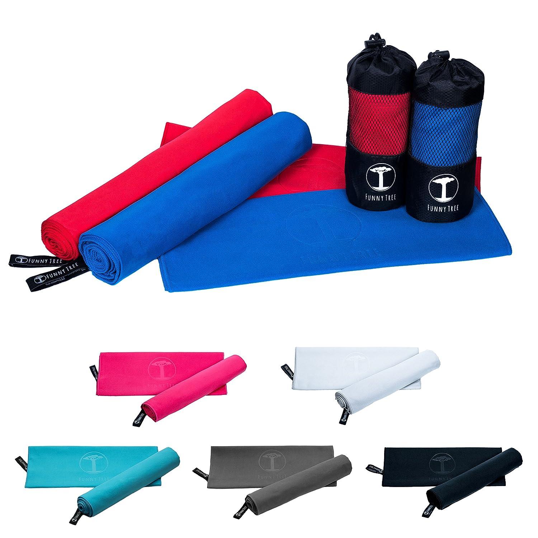 Funny Tree® toallas de viaje de microfibra de secado rápido, ideal para todas las actividades al aire libre I 1 x 70x140cm toalla de playa + 1 x 40x80cm ...