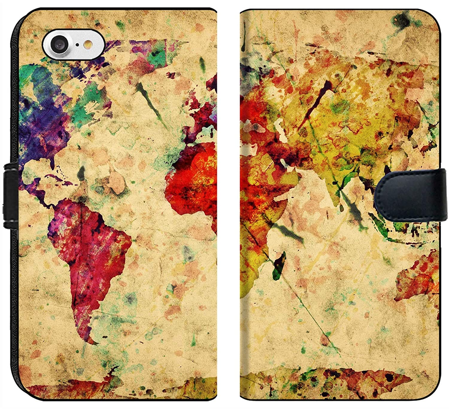 Liili Premium iPhone 7 Flip Micro Fabric Wallet Case Vintage World map Colorful Paint Watercolor Retro Style Expression on Grunge Photo 19290383