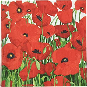 Paperproducts Design Decorative Beverage Paper Napkins – Tabletop Disposable Kitchen Cocktail Napkin – For Lunch, Dinner, Birthdays, Parties – Set of 20, Patti Gay/Two Can Art Red Poppies Design