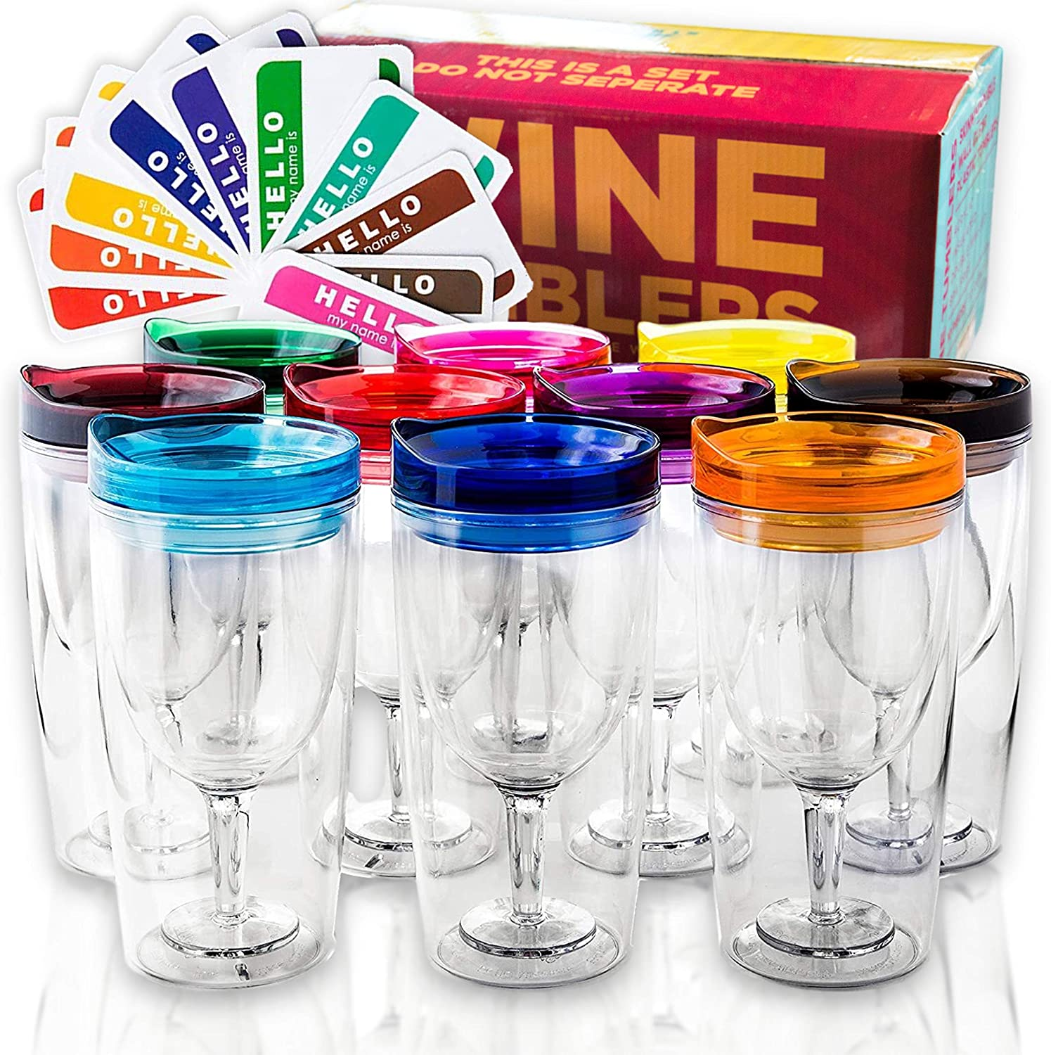 Amazon Com Insulated Wine Tumbler With Lid Set Of 10 Bonus Name Decals Outdoor Acrylic Plastic Wine Glasses 10oz Cup Tumblers In 10 Colors Adult Sippy Unbreakable Stemless Wine Glass Wine Glasses