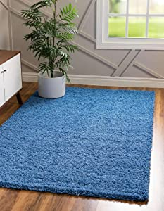 Unique Loom Solo Solid Shag Collection Modern Plush Periwinkle Blue Area Rug (8' 0 x 11' 0)
