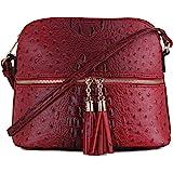 SG SUGU Lightweight Dome Crossbody Bag Shoulder Bag with Animal Skin Pattern | Tassel Zipper
