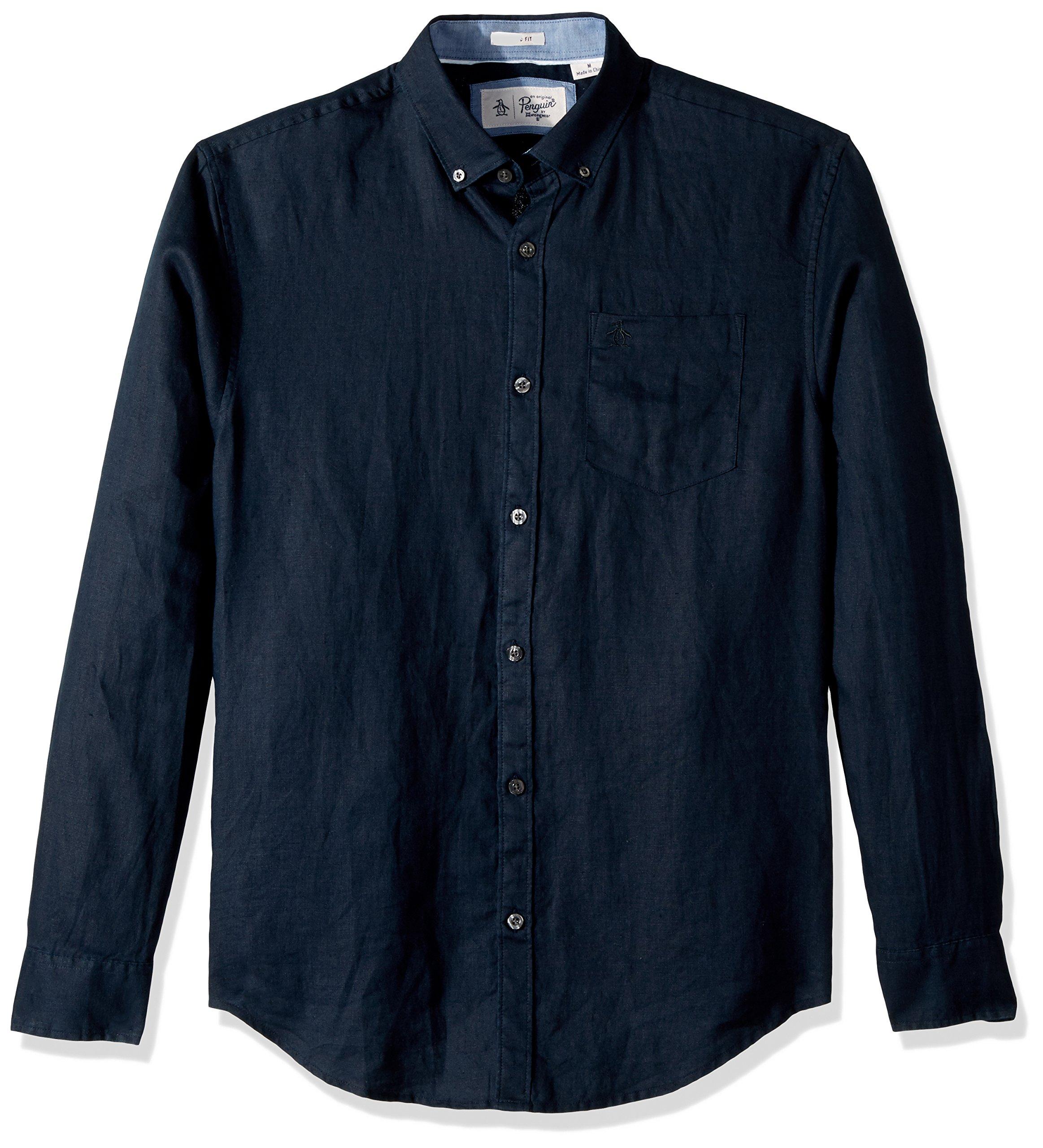 Original Penguin Men's Long Sleeve Washed Linen Shirt, Dark Sapphire, Medium