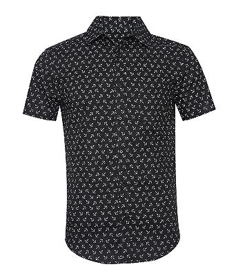 cd6b4db40ad TOPORUS Men s Casual Short Sleeve Printing Pattern Button Down Shirt Black S