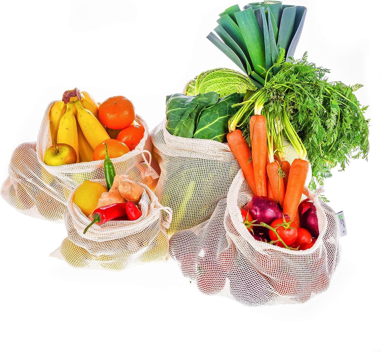 Instant Eco Bolsas reutilizables fruta Juego de 5 - Bolsas de Algodón de Primera Calidad - Zero Waste - Bolsas reutilizables compra para Frutas y Verduras - Bolsas Tela Ecologicas sin plástico