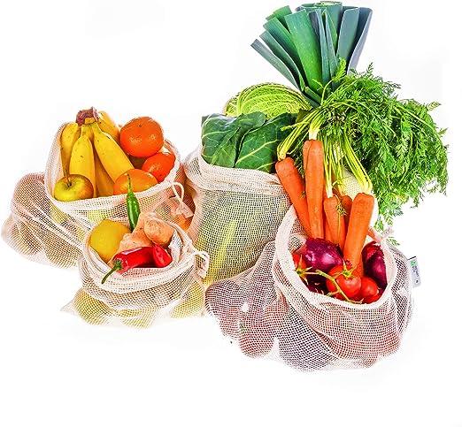 Instant Eco Bolsas reutilizables fruta Juego de 5 - Bolsas de Algodón de Primera Calidad - Zero Waste - Bolsas reutilizables compra para Frutas y Verduras - Bolsas Tela Ecologicas sin plástico: Amazon.es: Hogar