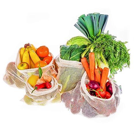 Instant Eco Bolsas reutilizables fruta Juego de 5 - Bolsas de Algodón de Primera Calidad - Zero Waste - Bolsas reutilizables compra para Frutas y ...