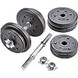 ScSPORTS Kurzhantel-Set 30 mm Durchmesser, massiver Stahl, mit Hantelscheiben aus Kunststoff, Varianten 20 kg / 30 kg