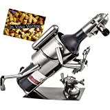 BRUBAKER Wine Bottle Holder Diver with Camera - Metal Sculpture - Wine Rack Decor - Tabletop - with Greeting Card
