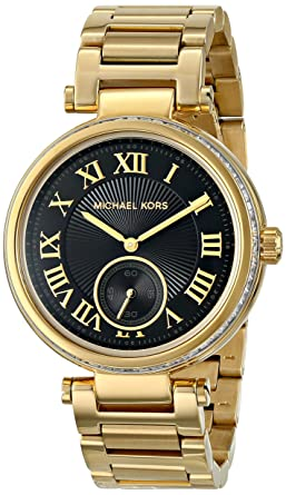 bc3a67649621 Amazon.com  Michael Kors Women s MK5989 - Skylar Gold Black Watch ...