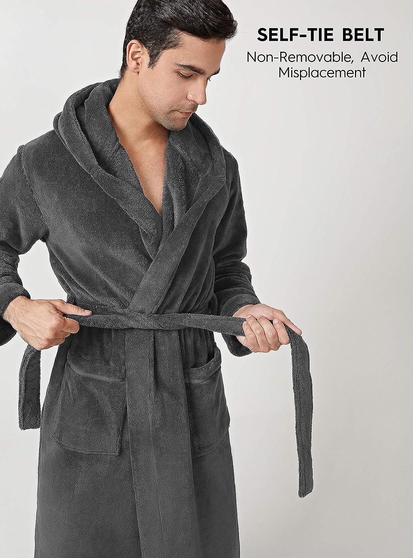 DAVID ARCHY Mens Hooded Fleece Soft Robe Full Length Lounge Robe Loungewear