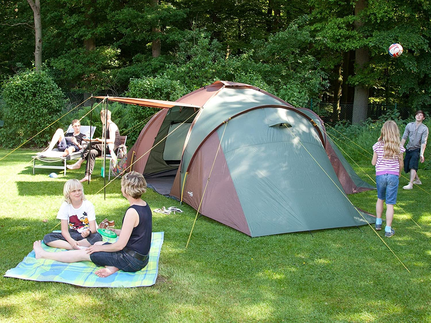 skandika daytona xxl family dome tent 6 9 person green with