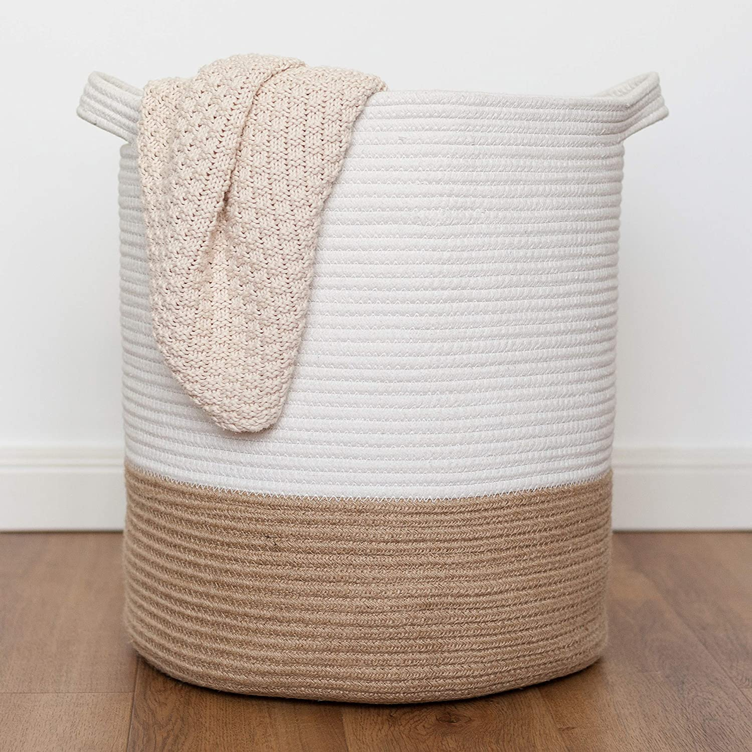 "Cotton Rope Basket,Woven Storage Basket and Blanket Basket,18""x15.5""Decorative Basket for Toy,Nursery,Baby Laundry,Plant and Bathroom,Large Laundry Basket with Handle"