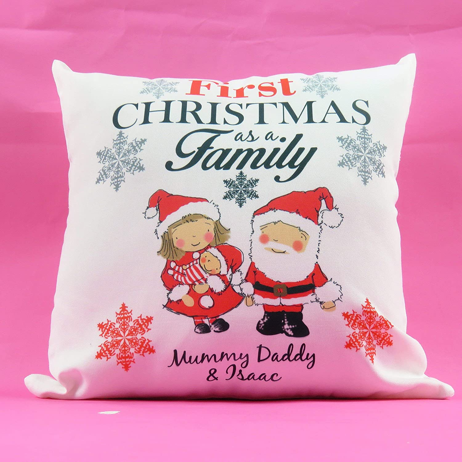 Christmas Santa First Family Xmas Personalised First Christmas Family Festive Cushion Decor Claus Mrs Claus