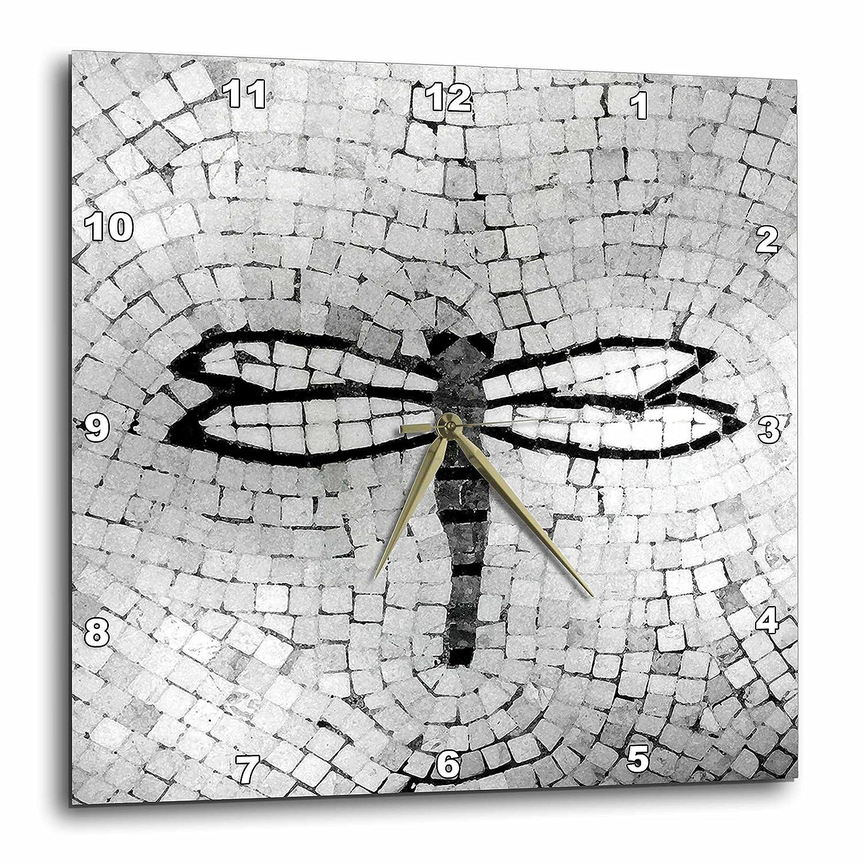 10 by 10-Inch 3dRose dpp/_29665/_1 Dragonfly Black n White-Wall Clock