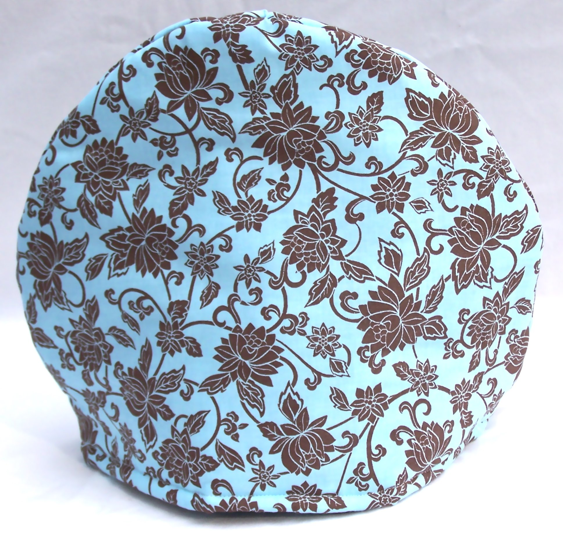 Handmade Brown and Tiffany Teal Toile Print Fabric Tea Cozy Lined and Padded Cosy