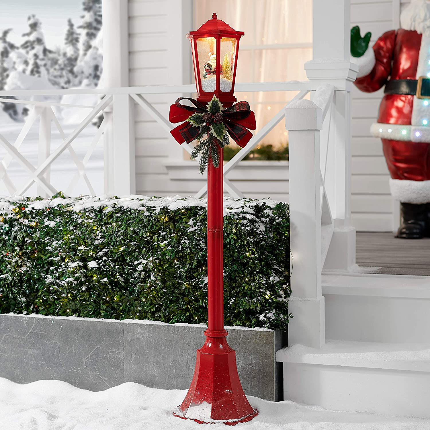 Amazon Com Nh Bright Attractive And Elegant 56 Snow Blowing Santa Red Christmas Lamppost Decoration Light Up And Play Music Plays A Variety Of Holiday Melody Favorites To Get Everyone Into The